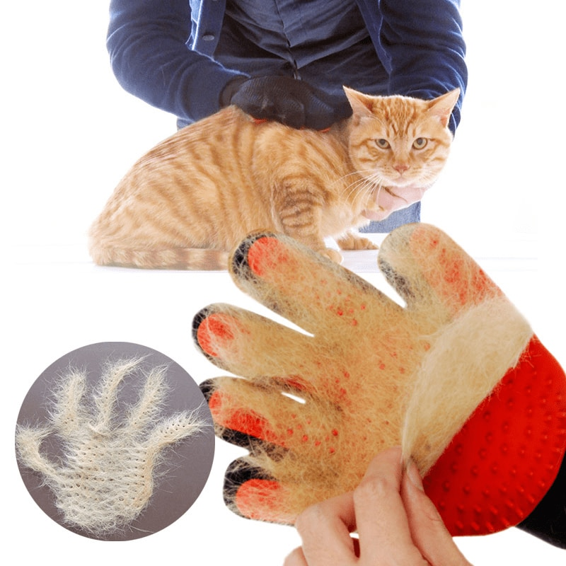 Red and Black Design Pet Grooming Glove
