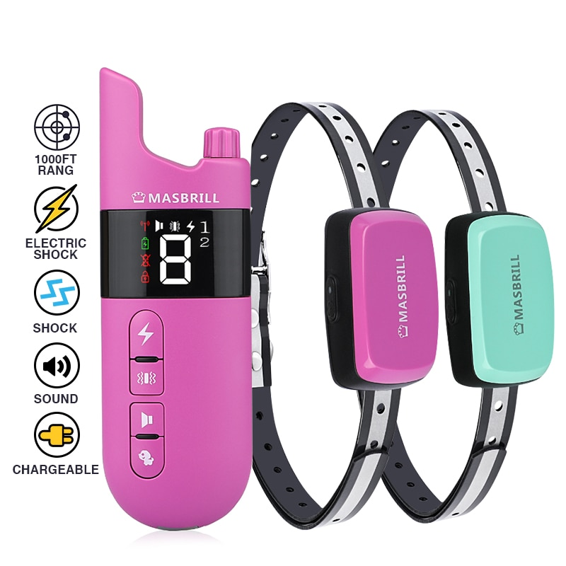 Dogs Training Collar Remote Shocker Control Rechargeab Electric Shock Vibration Sound Pets Bark Collar Accessories Products